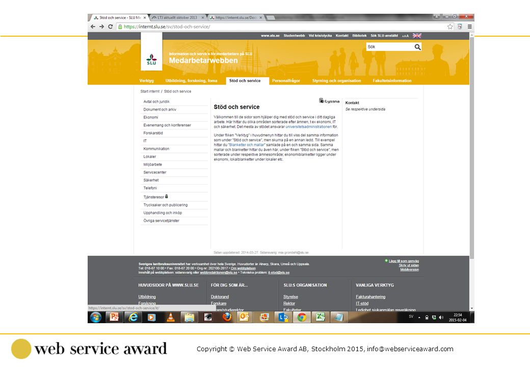 Copyright © Web Service Award AB, Stockholm 2015, info@webserviceaward.com