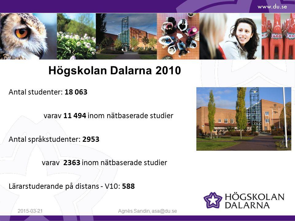 Antal studenter: 18 063 varav 11 494 inom nätbaserade studier Antal språkstudenter: 2953 varav 2363 inom nätbaserade studier Lärarstuderande på distans - V10: 588 2015-03-21Agnès Sandin, asa@du.se Högskolan Dalarna 2010
