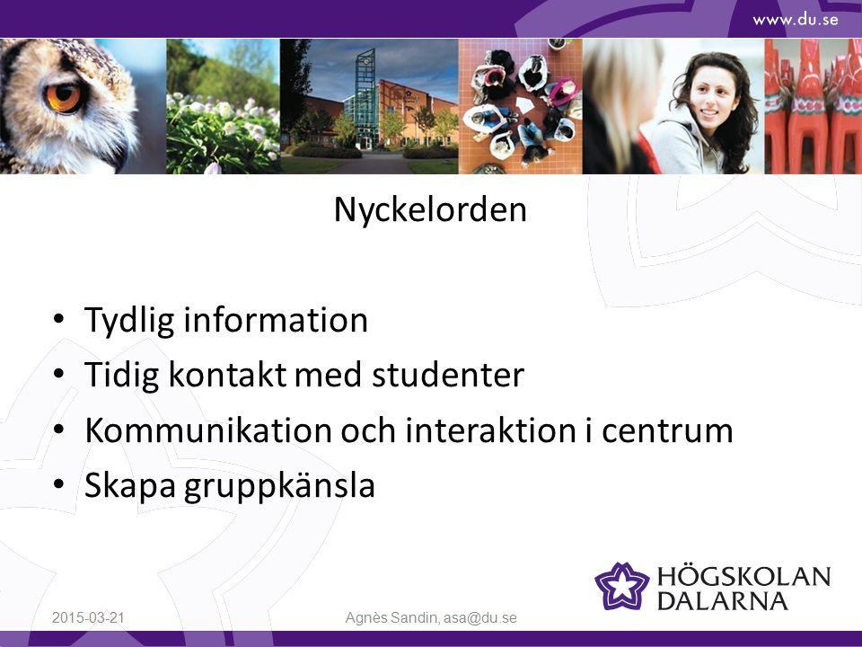 Nyckelorden Tydlig information Tidig kontakt med studenter Kommunikation och interaktion i centrum Skapa gruppkänsla 2015-03-21Agnès Sandin, asa@du.se
