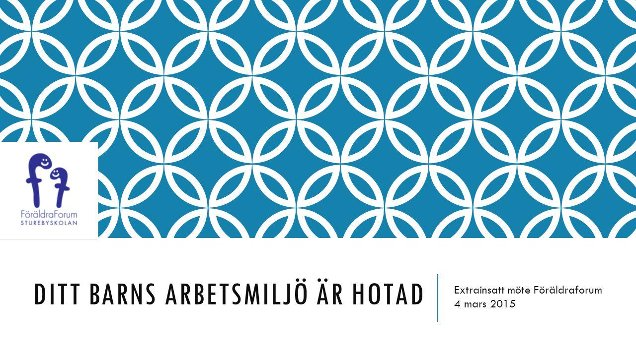 DITT BARNS ARBETSMILJÖ ÄR HOTAD Extrainsatt möte Föräldraforum 4 mars 2015