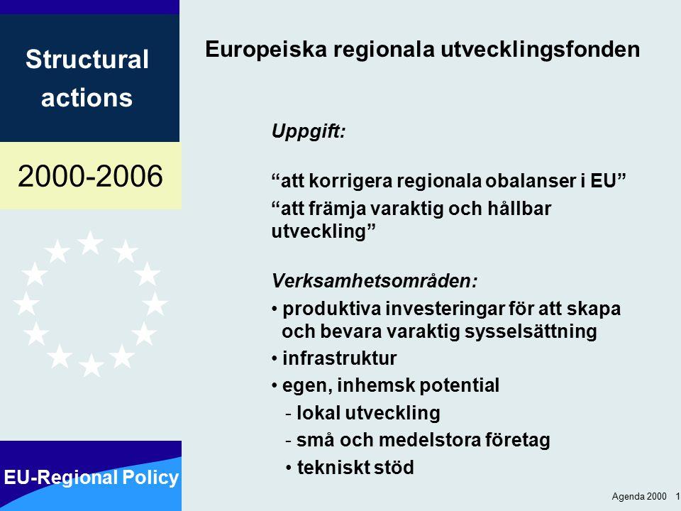 2000-2006 EU-Regional Policy Structural actions Agenda 2000 1 Europeiska regionala utvecklingsfonden Uppgift: att korrigera regionala obalanser i EU att främja varaktig och hållbar utveckling Verksamhetsområden: produktiva investeringar för att skapa och bevara varaktig sysselsättning infrastruktur egen, inhemsk potential - lokal utveckling - små och medelstora företag tekniskt stöd