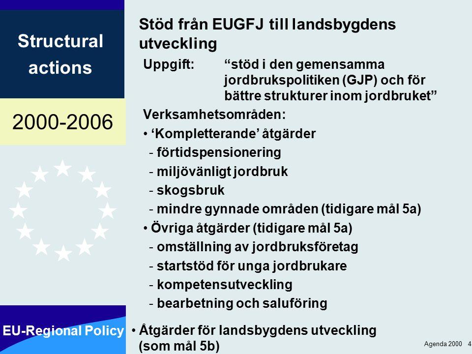 2000-2006 EU-Regional Policy Structural actions Agenda 2000 4 Stöd från EUGFJ till landsbygdens utveckling Uppgift: stöd i den gemensamma jordbrukspolitiken (GJP) och för bättre strukturer inom jordbruket Verksamhetsområden: 'Kompletterande' åtgärder - förtidspensionering - miljövänligt jordbruk - skogsbruk - mindre gynnade områden (tidigare mål 5a) Övriga åtgärder (tidigare mål 5a) - omställning av jordbruksföretag - startstöd för unga jordbrukare - kompetensutveckling - bearbetning och saluföring Åtgärder för landsbygdens utveckling (som mål 5b)