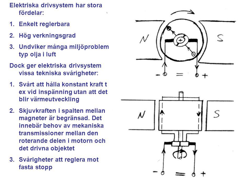 Elektriska drivsystem har stora fördelar: 1.Enkelt reglerbara 2.Hög verkningsgrad 3.Undviker många miljöproblem typ olja i luft Dock ger elektriska drivsystem vissa tekniska svårigheter: 1.Svårt att hålla konstant kraft t ex vid inspänning utan att det blir värmeutveckling 2.Skjuvkraften i spalten mellan magneter är begränsad.