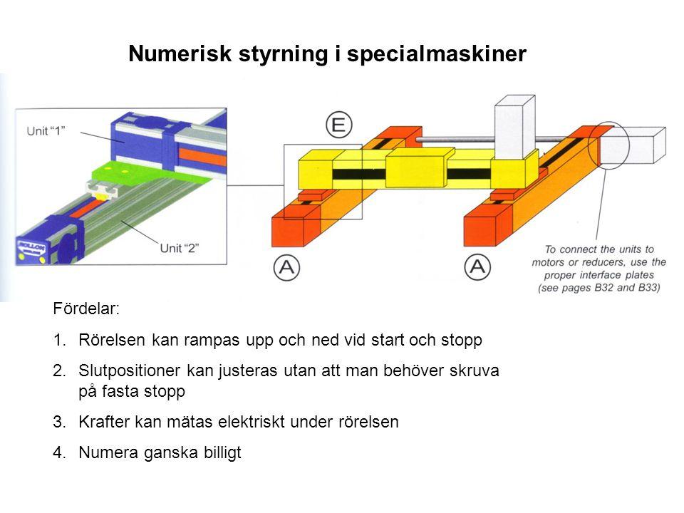 Numerisk styrning i specialmaskiner Fördelar: 1.Rörelsen kan rampas upp och ned vid start och stopp 2.Slutpositioner kan justeras utan att man behöver skruva på fasta stopp 3.Krafter kan mätas elektriskt under rörelsen 4.Numera ganska billigt