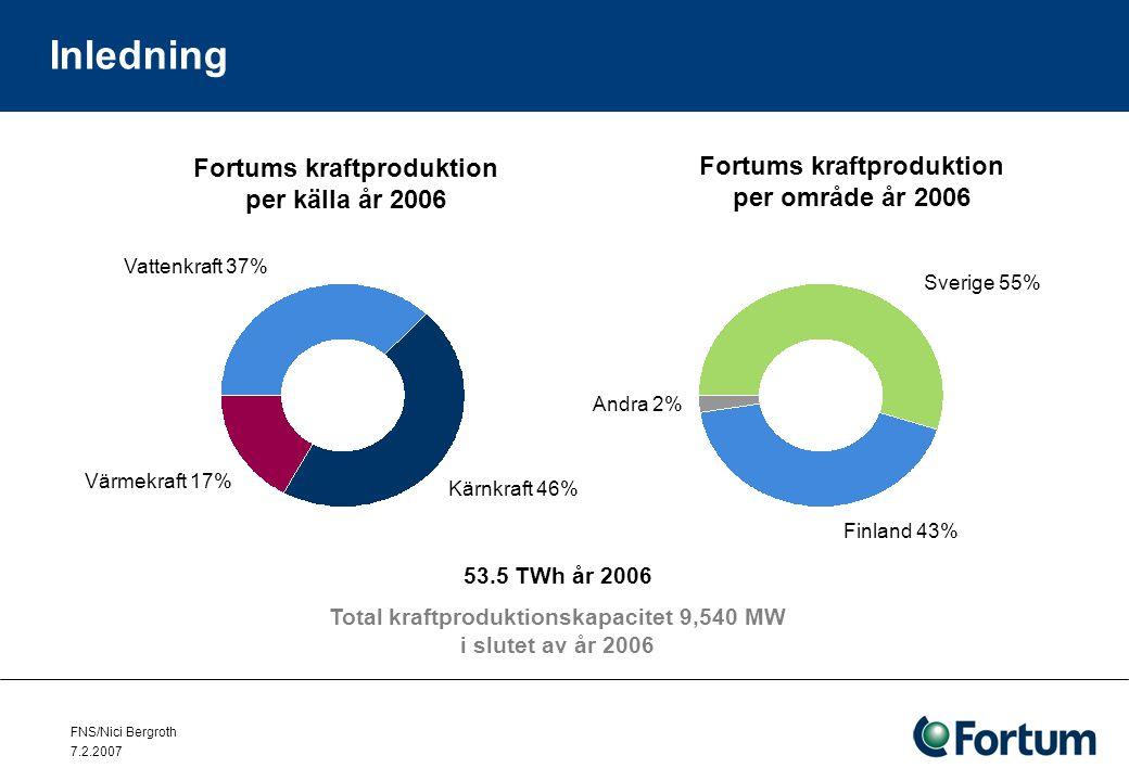 FNS/Nici Bergroth 7.2.2007 Inledning Fortums andelar i kärnkraftverk –Lovisa 1,2 (Fortum 100 %) LO1 (1977), LO2 (1981) nettoeffekt 490 MW –Olkiluoto 1,2 (Fortum 26 %) OL1 (1979), OL2 (1982) nettoeffekt 840 MW –Oskarshamn 1 - 3 (Fortum 45,5 %) O1 (1972) nettoeffekt 486 MW O2 (1974) nettoeffekt 627 MW O3 (1985) nettoeffekt 1198 MW –Forsmark 1 - 3 (Fortum ca.