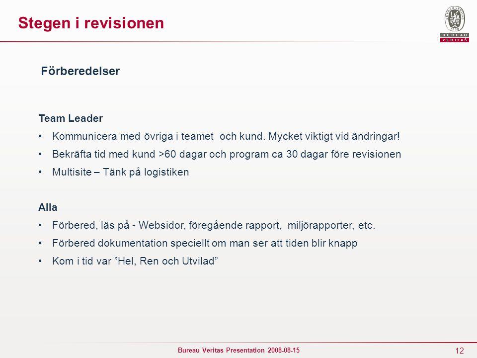 12 Bureau Veritas Presentation 2008-08-15 Stegen i revisionen Team Leader Kommunicera med övriga i teamet och kund. Mycket viktigt vid ändringar! Bekr