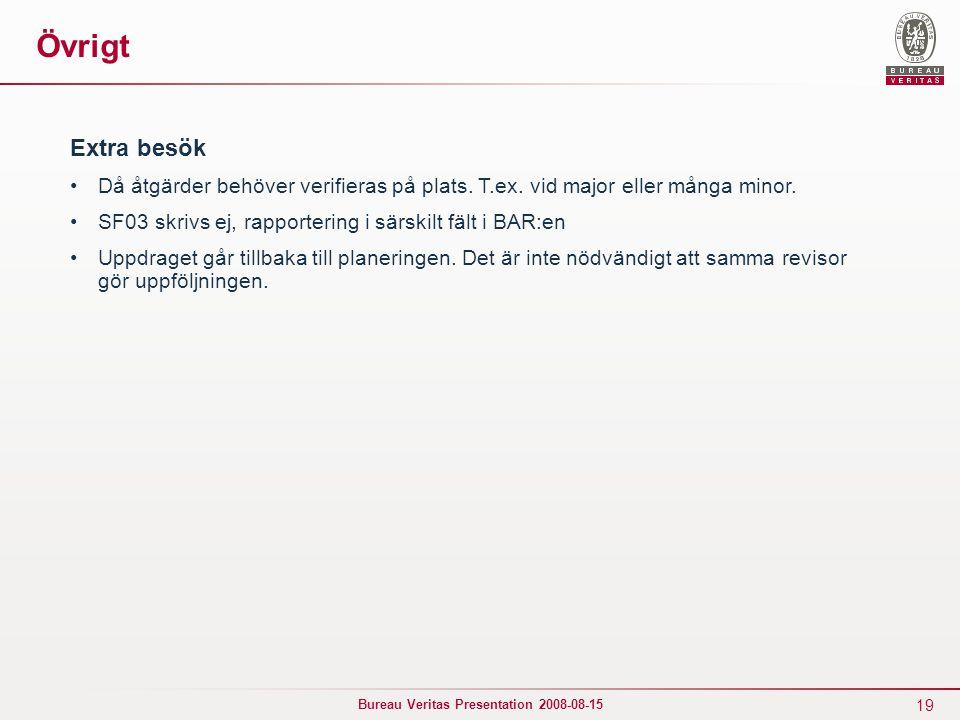 19 Bureau Veritas Presentation 2008-08-15 Övrigt Extra besök Då åtgärder behöver verifieras på plats. T.ex. vid major eller många minor. SF03 skrivs e
