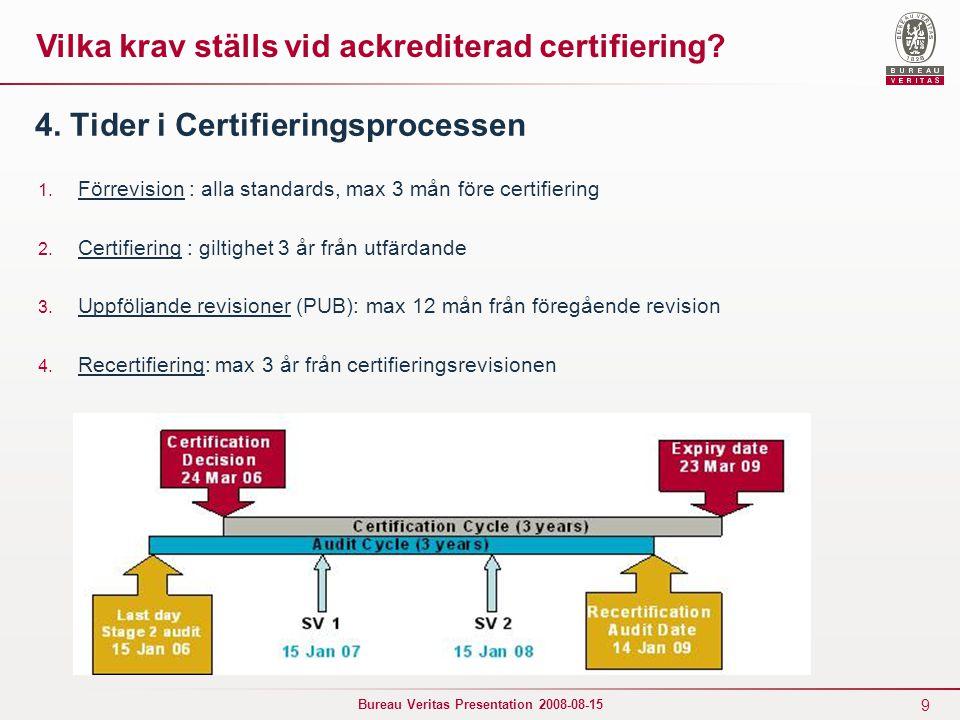9 Bureau Veritas Presentation 2008-08-15 4. Tider i Certifieringsprocessen 1. Förrevision : alla standards, max 3 mån före certifiering 2. Certifierin
