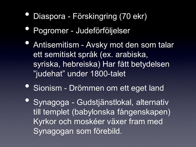 Diaspora - Förskingring (70 ekr) Pogromer - Judeförföljelser Antisemitism - Avsky mot den som talar ett semitiskt språk (ex. arabiska, syriska, hebrei