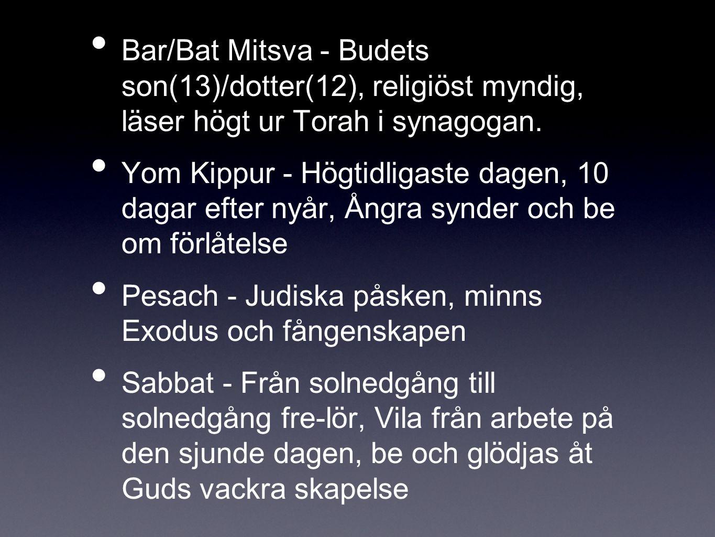 Bar/Bat Mitsva - Budets son(13)/dotter(12), religiöst myndig, läser högt ur Torah i synagogan. Yom Kippur - Högtidligaste dagen, 10 dagar efter nyår,