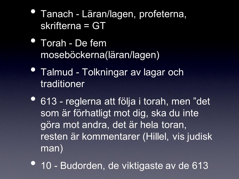 Tanach - Läran/lagen, profeterna, skrifterna = GT Torah - De fem moseböckerna(läran/lagen) Talmud - Tolkningar av lagar och traditioner 613 - reglerna