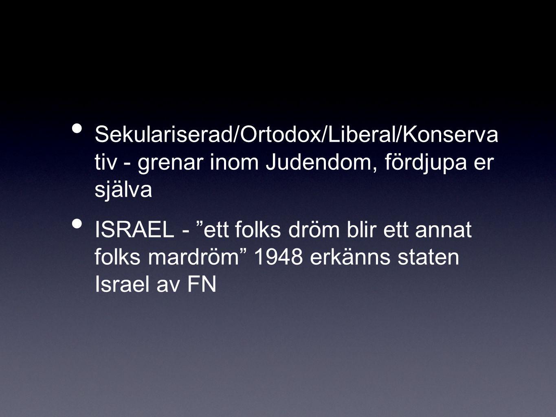 """Sekulariserad/Ortodox/Liberal/Konserva tiv - grenar inom Judendom, fördjupa er själva ISRAEL - """"ett folks dröm blir ett annat folks mardröm"""" 1948 erkä"""