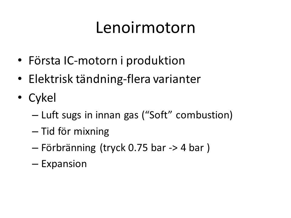 Lenoirmotorn Första IC-motorn i produktion Elektrisk tändning-flera varianter Cykel – Luft sugs in innan gas ( Soft combustion) – Tid för mixning – Förbränning (tryck 0.75 bar -> 4 bar ) – Expansion