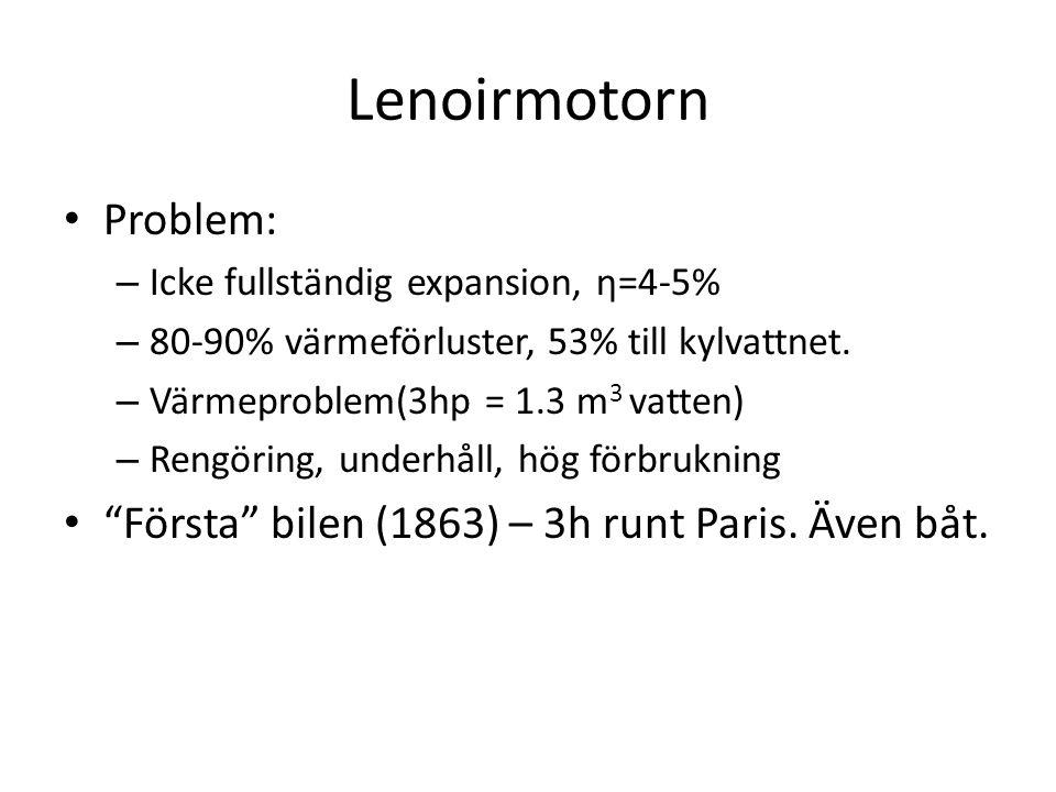 Problem: – Icke fullständig expansion, η=4-5% – 80-90% värmeförluster, 53% till kylvattnet. – Värmeproblem(3hp = 1.3 m 3 vatten) – Rengöring, underhål