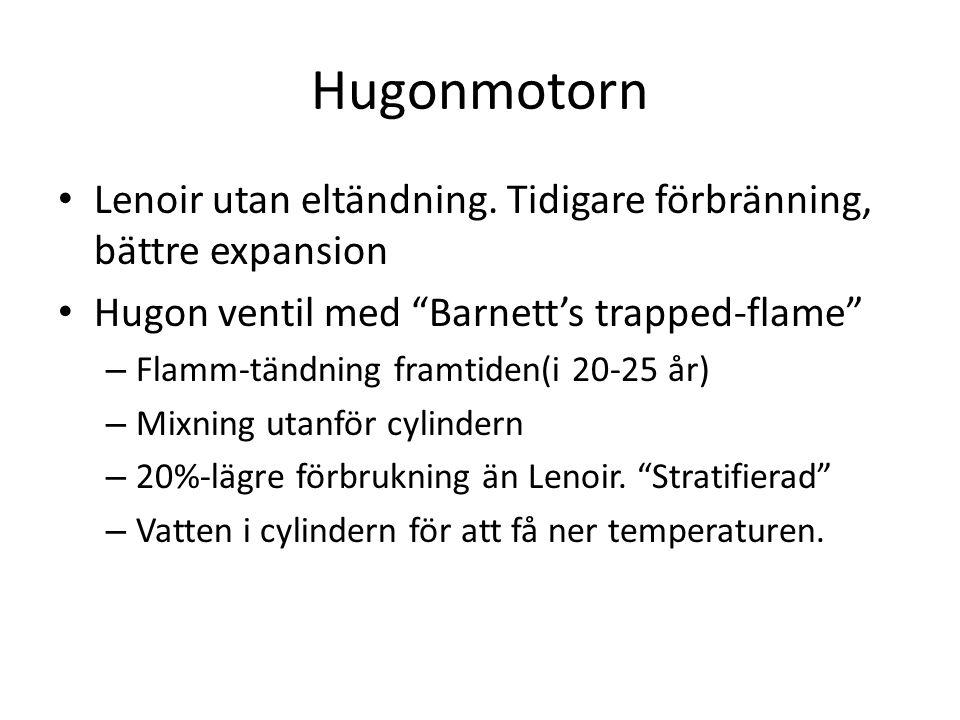 """Hugonmotorn Lenoir utan eltändning. Tidigare förbränning, bättre expansion Hugon ventil med """"Barnett's trapped-flame"""" – Flamm-tändning framtiden(i 20-"""