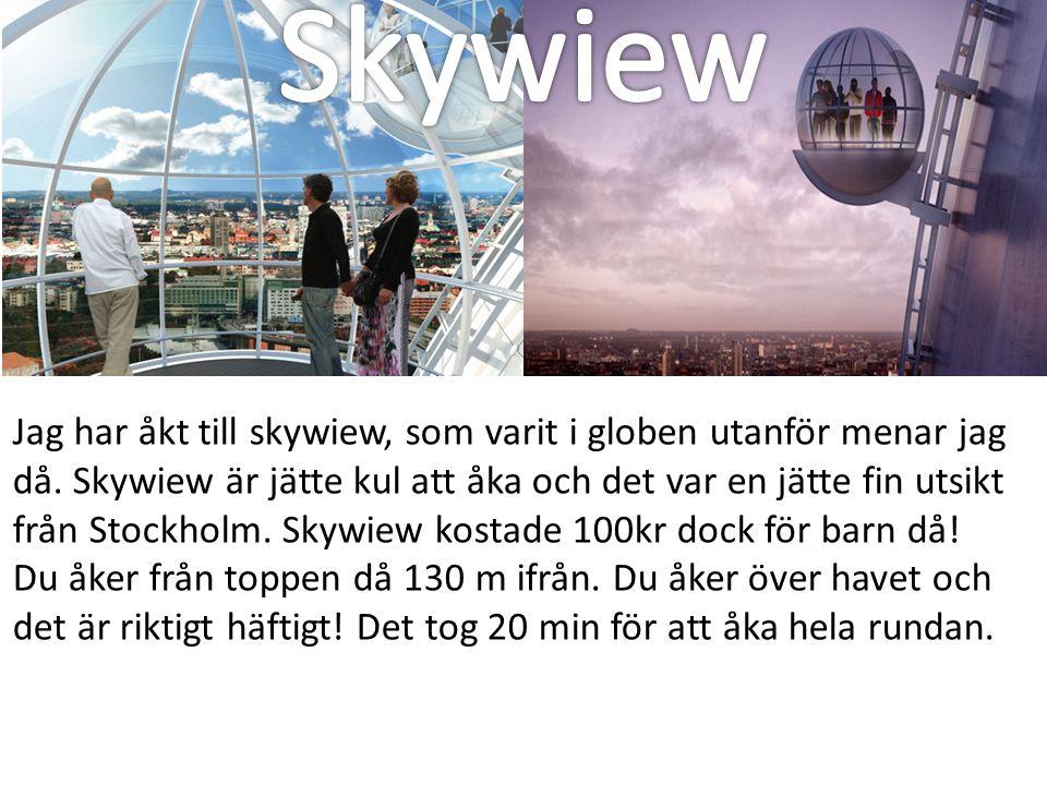 Jag har åkt till skywiew, som varit i globen utanför menar jag då. Skywiew är jätte kul att åka och det var en jätte fin utsikt från Stockholm. Skywie