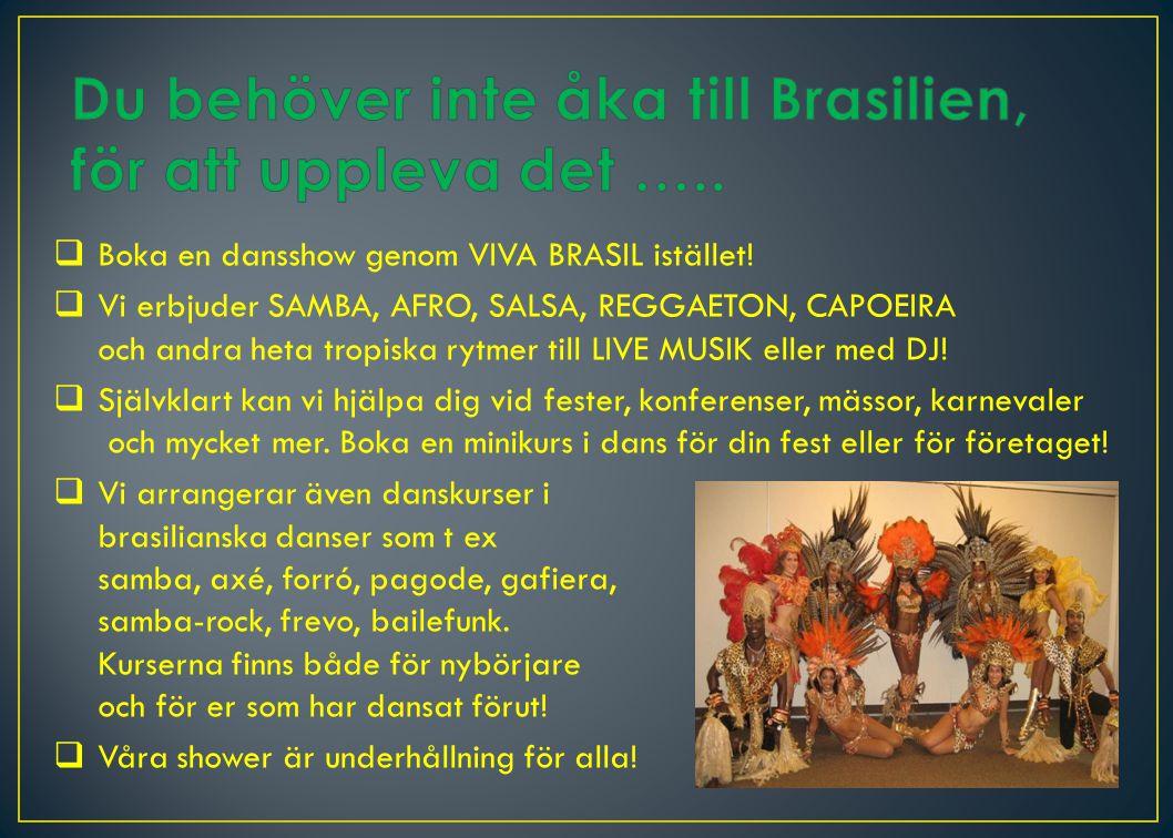  Boka en dansshow genom VIVA BRASIL istället.