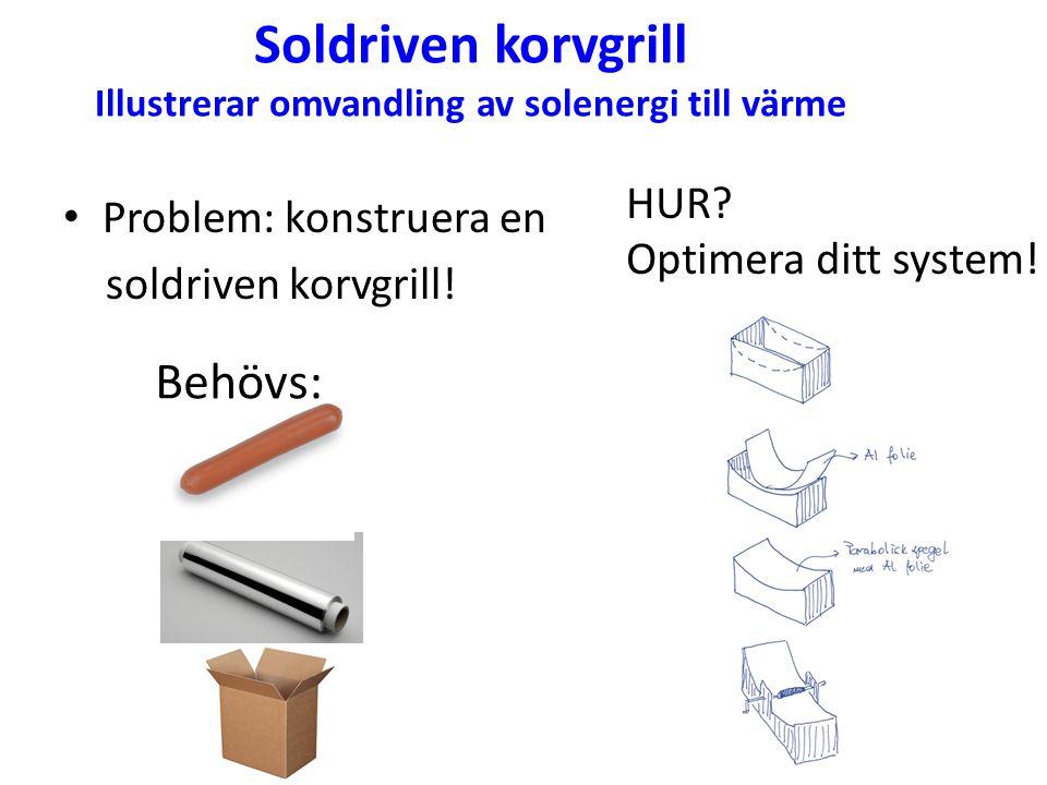 Soldriven korvgrill Illustrerar omvandling av solenergi till värme Problem: konstruera en soldriven korvgrill! Behövs: HUR? Optimera ditt system!