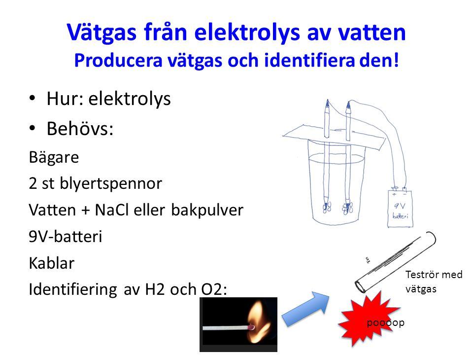 Vätgas från elektrolys av vatten Producera vätgas och identifiera den! Hur: elektrolys Behövs: Bägare 2 st blyertspennor Vatten + NaCl eller bakpulver