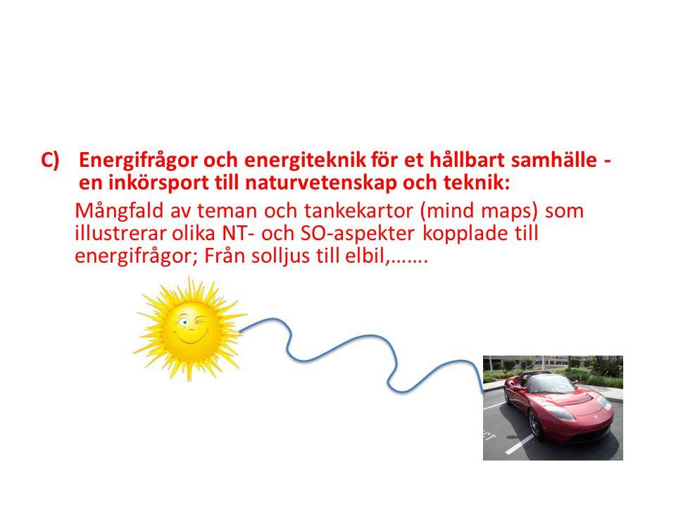 C)Energifrågor och energiteknik för et hållbart samhälle - en inkörsport till naturvetenskap och teknik: Mångfald av teman och tankekartor (mind maps)