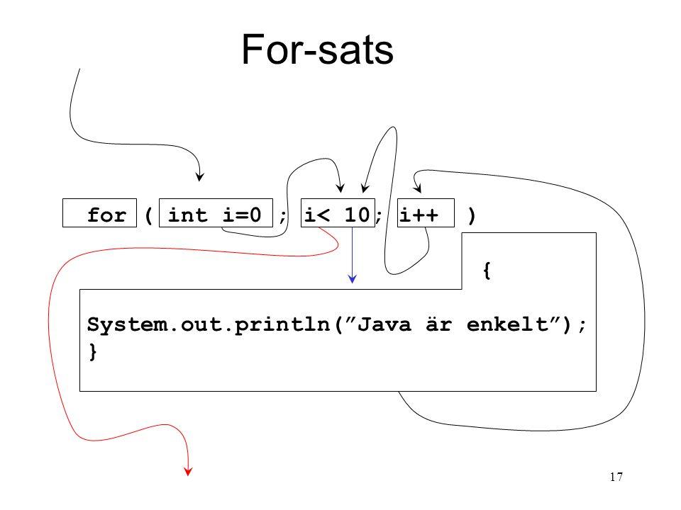 17 For-sats for ( int i=0 ; i< 10; i++ ) { System.out.println( Java är enkelt ); }