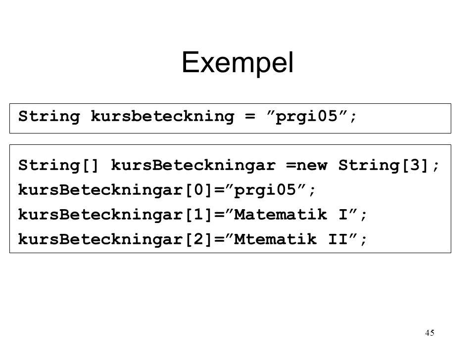 45 Exempel String kursbeteckning = prgi05 ; String[] kursBeteckningar =new String[3]; kursBeteckningar[0]= prgi05 ; kursBeteckningar[1]= Matematik I ; kursBeteckningar[2]= Mtematik II ;