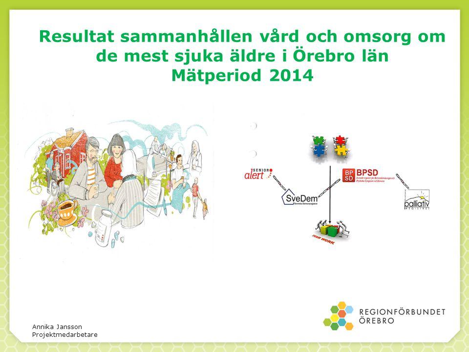 Resultat sammanhållen vård och omsorg om de mest sjuka äldre i Örebro län Mätperiod 2014 Annika Jansson Projektmedarbetare