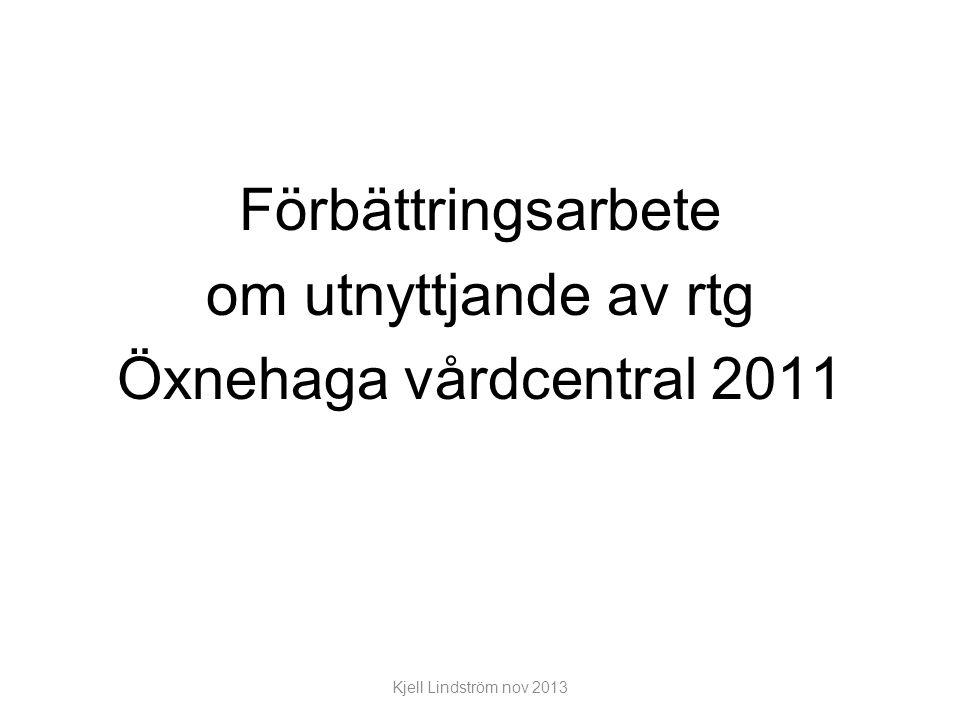 Förbättringsarbete om utnyttjande av rtg Öxnehaga vårdcentral 2011 Kjell Lindström nov 2013