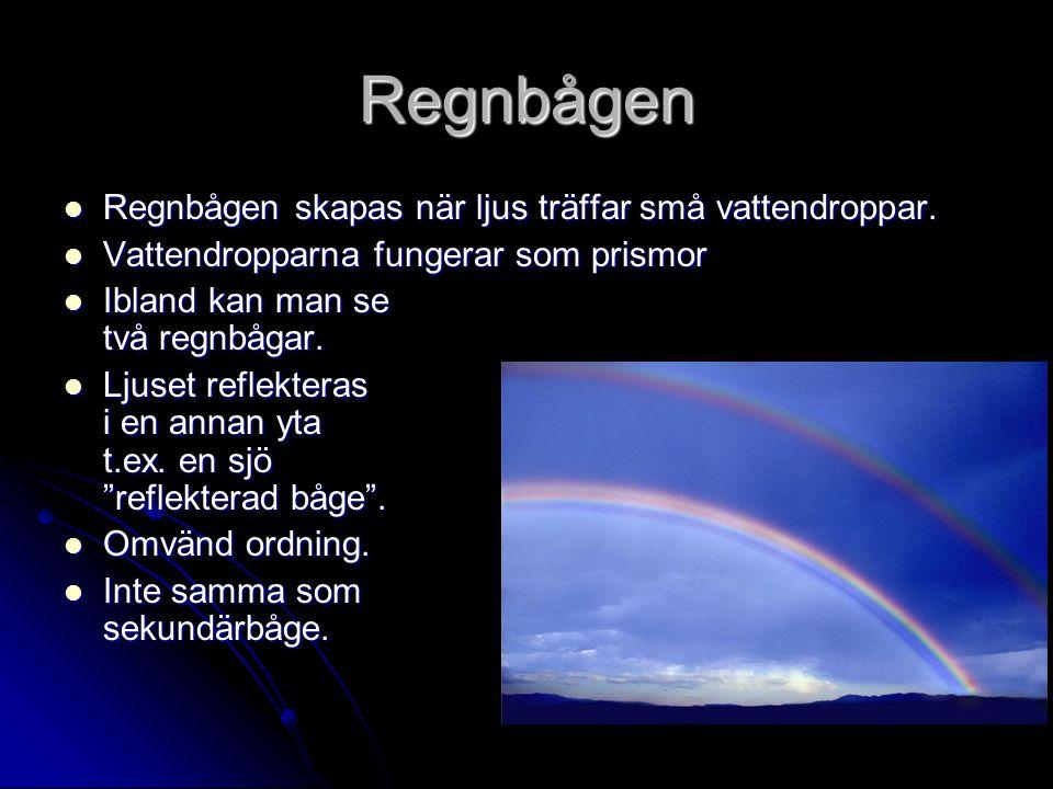 Regnbågen Regnbågen skapas när ljus träffar små vattendroppar. Regnbågen skapas när ljus träffar små vattendroppar. Vattendropparna fungerar som prism