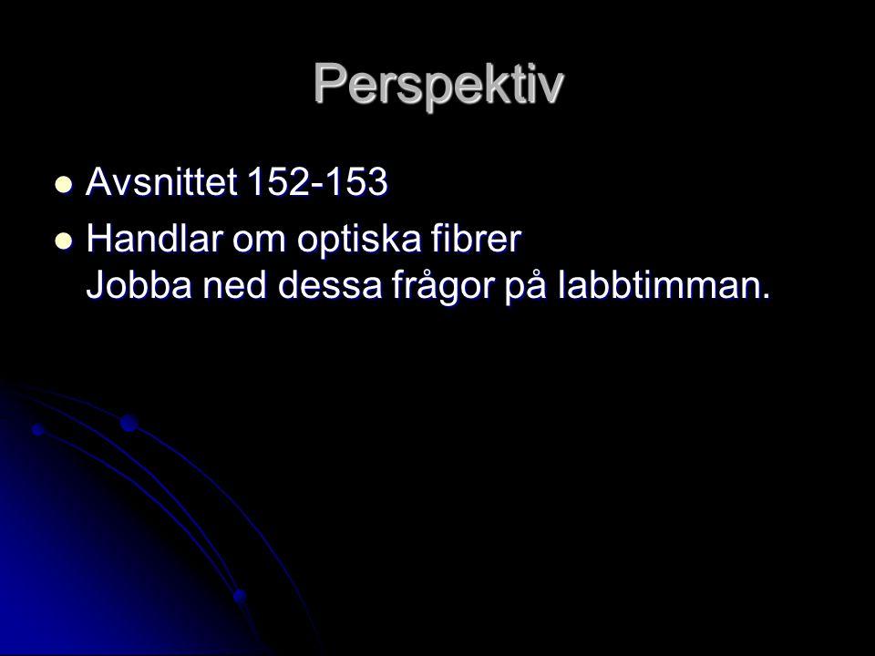 Perspektiv Avsnittet 152-153 Avsnittet 152-153 Handlar om optiska fibrer Jobba ned dessa frågor på labbtimman. Handlar om optiska fibrer Jobba ned des