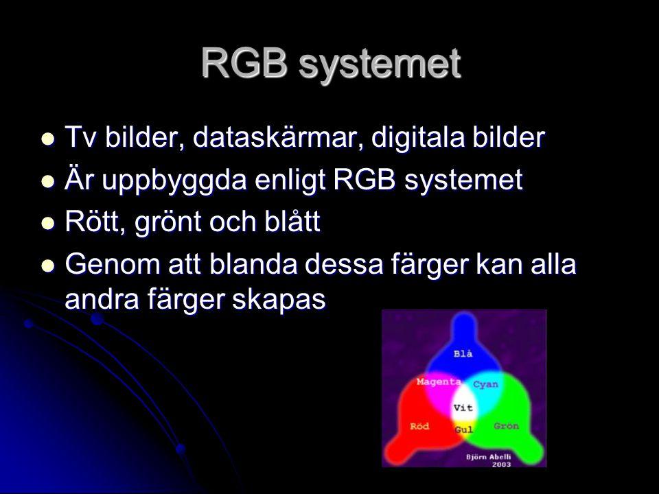 RGB systemet Tv bilder, dataskärmar, digitala bilder Tv bilder, dataskärmar, digitala bilder Är uppbyggda enligt RGB systemet Är uppbyggda enligt RGB