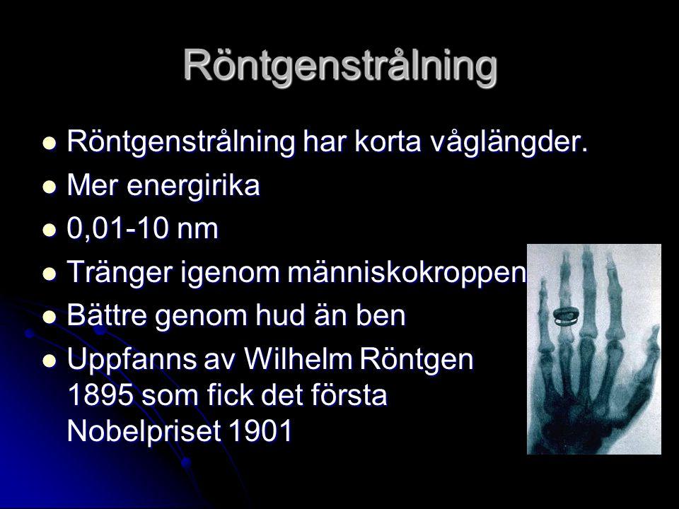 Röntgenstrålning Röntgenstrålning har korta våglängder. Röntgenstrålning har korta våglängder. Mer energirika Mer energirika 0,01-10 nm 0,01-10 nm Trä