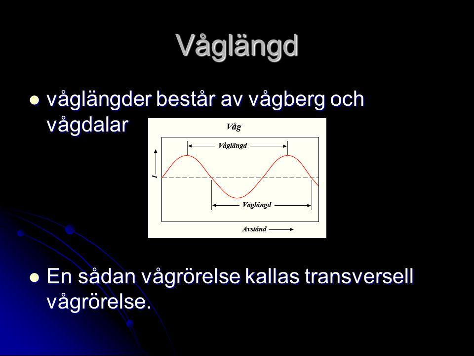 Våglängd våglängder består av vågberg och vågdalar våglängder består av vågberg och vågdalar En sådan vågrörelse kallas transversell vågrörelse. En så