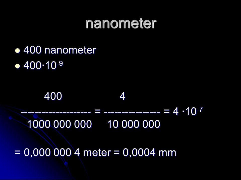 nanometer 400 nanometer 400 nanometer 400∙10 -9 400∙10 -9 400 4 400 4 -------------------- = ---------------- = 4 ∙10 -7 1000 000 000 10 000 000 -----