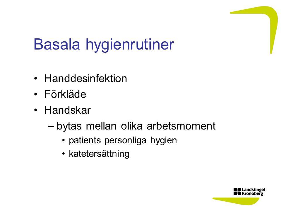 Basala hygienrutiner Handdesinfektion Förkläde Handskar –bytas mellan olika arbetsmoment patients personliga hygien katetersättning
