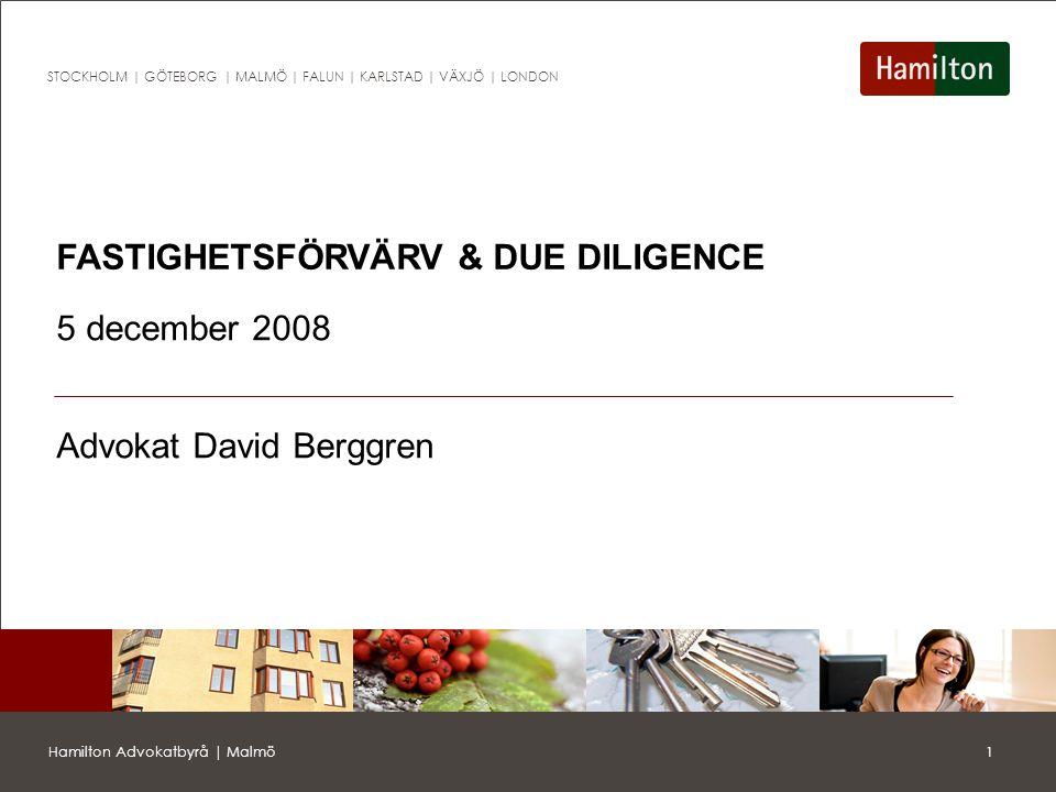 2Hamilton Advokatbyrå | Malmö STOCKHOLM | GÖTEBORG | MALMÖ | FALUN | KARLSTAD | VÄXJÖ | LONDON Förvärvsprocessen Allmän information om köpeobjektet, sekretessavtal, letter of intent (avsiktsförklaring) etc.