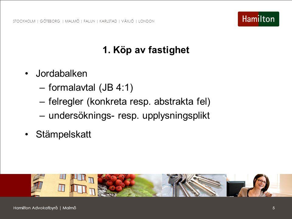 6Hamilton Advokatbyrå | Malmö STOCKHOLM | GÖTEBORG | MALMÖ | FALUN | KARLSTAD | VÄXJÖ | LONDON Fel enligt JB Feltyperna i 4 kap.