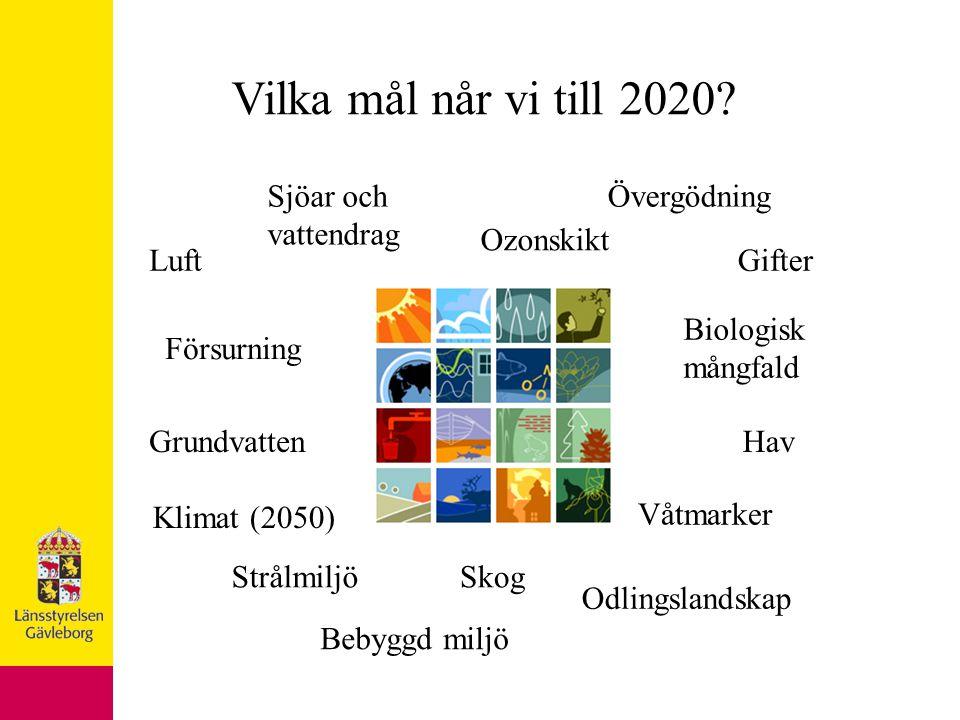 Klimat (2050) Luft Försurning Gifter ÖvergödningSjöar och vattendrag GrundvattenHav Våtmarker Skog Odlingslandskap Bebyggd miljö Biologisk mångfald Strålmiljö Ozonskikt Vilka mål når vi till 2020