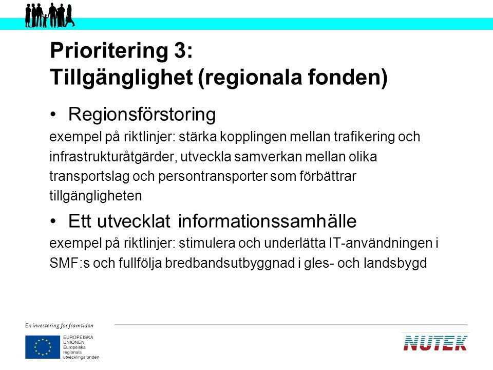 Prioritering 4: Strategiskt gränsöverskridande samarbete (regionala fonden) Minimera gränshinder Främja nätverk och fördjupat samarbete över gränser när det gäller till exempel miljö och kultur Gränsöverskridande samverkanslösningar Bidra till bättre kommunikationer mellan de nordiska storstadsregionerna