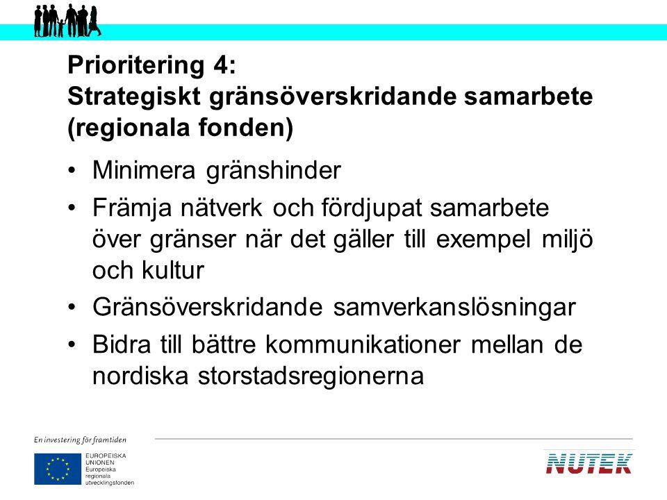 Prioritering 4: Strategiskt gränsöverskridande samarbete (regionala fonden) Minimera gränshinder Främja nätverk och fördjupat samarbete över gränser n