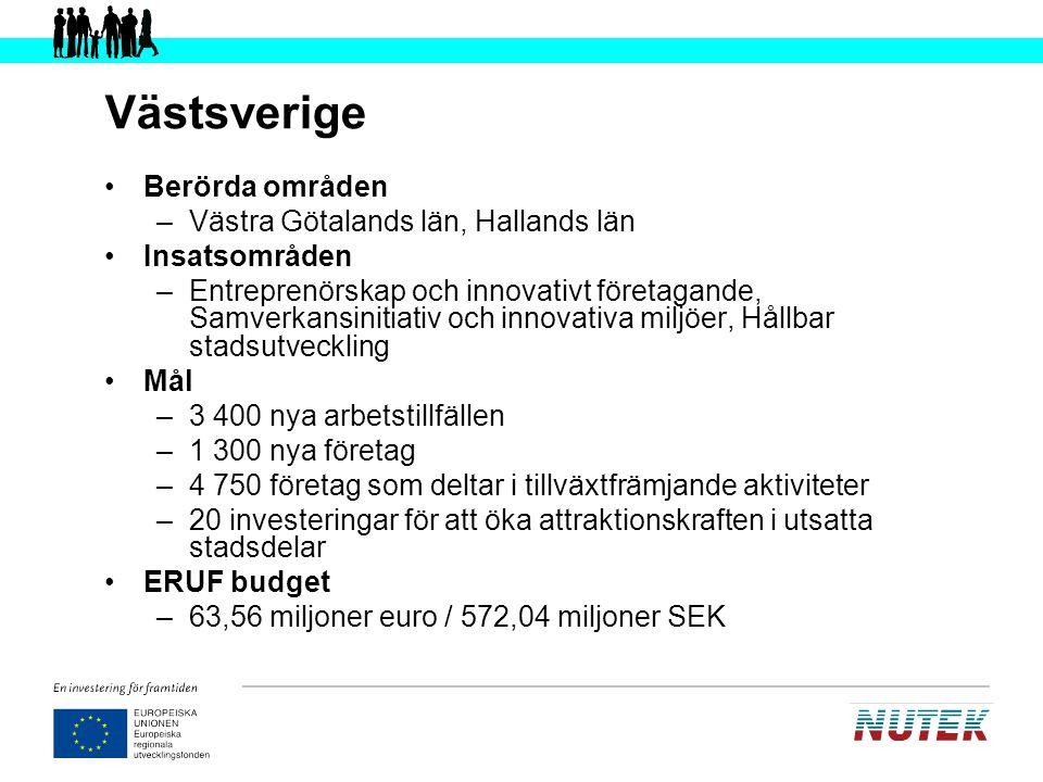 Skåne-Blekinge Berörda områden –Skåne län, Blekinge län Insatsområden –Innovation och förnyelse, Tillgänglighet, Särskilda storstadsinsatser Mål –1 900 nya arbetstillfällen –500 nya företag –4 100 deltagande företag –300 deltagande aktörer –65 nya näringslivs-/innovationsfrämjande system –55 nya tjänster relaterade till informationssamhället ERUF budget –70,69 miljoner euro / 636,21 miljoner SEK