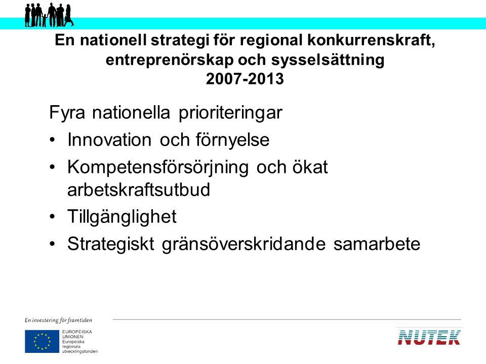 EU-nivå Nationell nivå Flerlänsnivå Europeiska regionala utvecklingsfonden (ERUF) Europeiska socialfonden (ESF) Nationell strategi för regional konkurrenskraft, entreprenörskap och sysselsättning 2007-2013 Nationella strukturfondsprogrammet 8 regionala strukturfondsprogram Territoriella program 8 planer