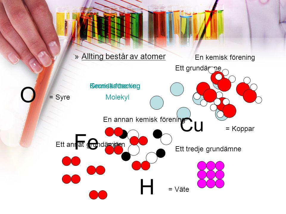 FRÅGA 4 Vilka är de kemiska tecknen för a) Kol b) Syre c) Väte