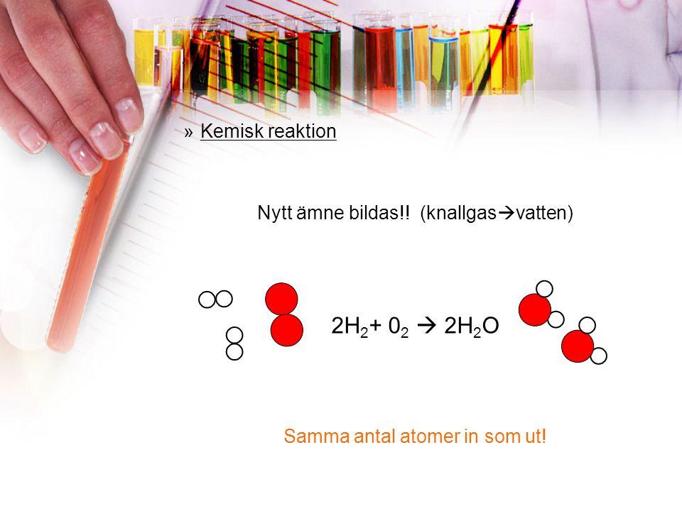 »Kemisk reaktion Nytt ämne bildas!! Ämne A + Ämne B  Ämne C Samma antal atomer in som ut!