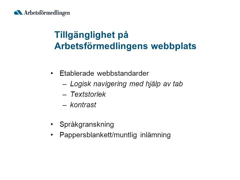 Tillgänglighet på Arbetsförmedlingens webbplats Etablerade webbstandarder –Logisk navigering med hjälp av tab –Textstorlek –kontrast Språkgranskning P