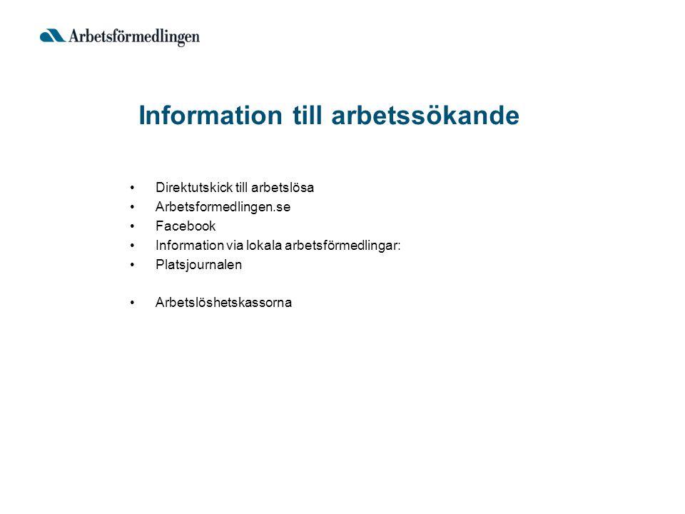 Information till arbetssökande Direktutskick till arbetslösa Arbetsformedlingen.se Facebook Information via lokala arbetsförmedlingar: Platsjournalen