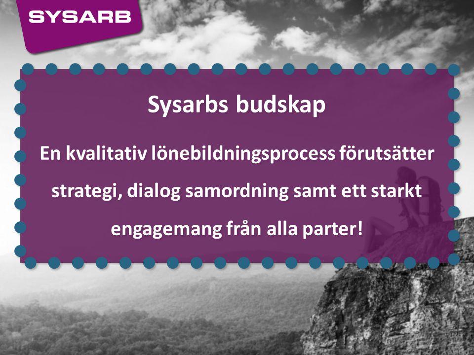 Sysarbs budskap En kvalitativ lönebildningsprocess förutsätter strategi, dialog samordning samt ett starkt engagemang från alla parter! Sysarbs budska