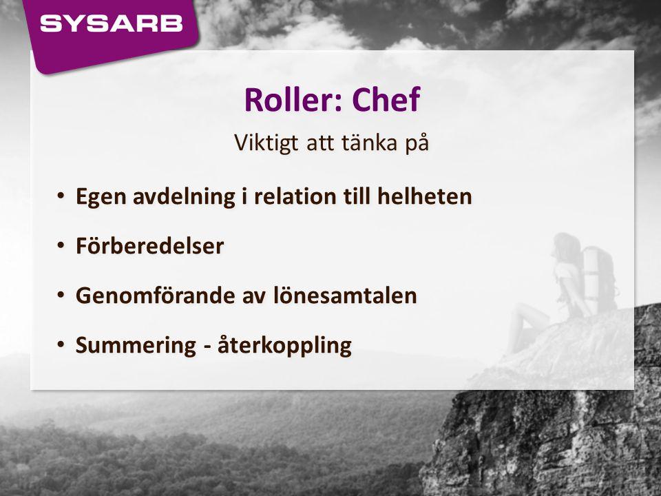 Roller: Chef Viktigt att tänka på Egen avdelning i relation till helheten Förberedelser Genomförande av lönesamtalen Summering - återkoppling Roller: