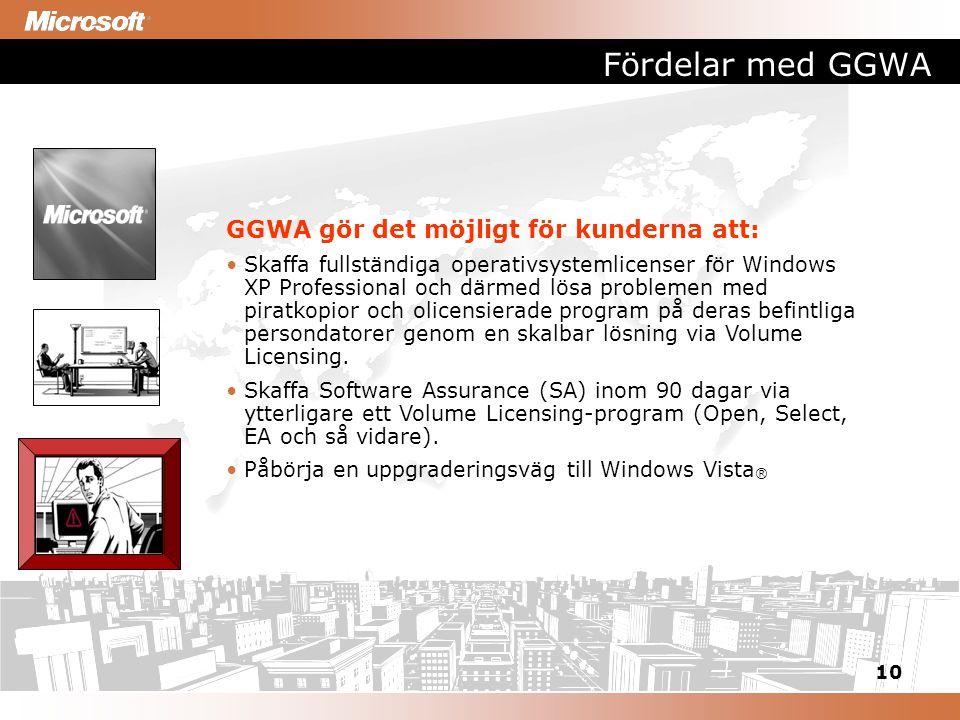 10 Fördelar med GGWA GGWA gör det möjligt för kunderna att: Skaffa fullständiga operativsystemlicenser för Windows XP Professional och därmed lösa problemen med piratkopior och olicensierade program på deras befintliga persondatorer genom en skalbar lösning via Volume Licensing.
