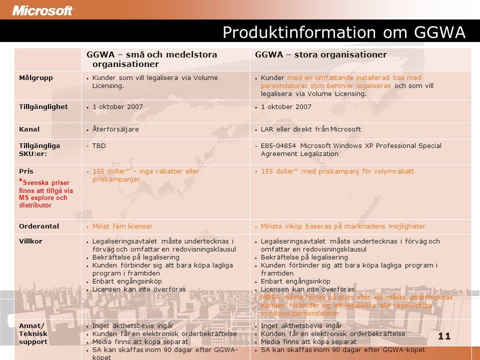 11 Produktinformation om GGWA GGWA – små och medelstora organisationer GGWA – stora organisationer Målgrupp Kunder som vill legalisera via Volume Licensing.